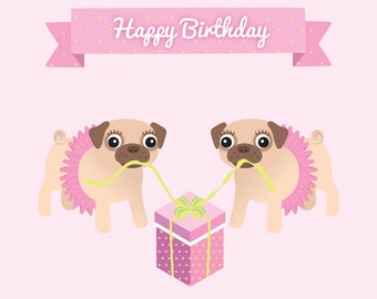 Pugs with tutus (also perfect for friends!) - Lesbian birthday card - lesbian birthday gift - lesbian girlfriend gift
