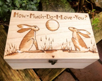 Personalised Memory Box - Hinged Lid Wooden Box - Moon Gazing Hares - How Much I love You - Wedding Keepsake Box - Mr & Mrs Gift - Child Box