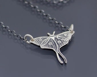 Small Sterling Silver Luna Moth Necklace, Actias Luna,  moon moth