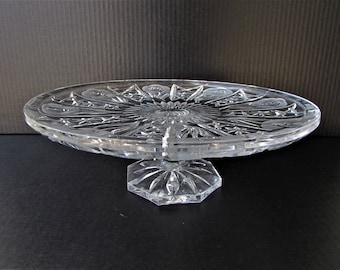 Vintage Cake Stand - Heavy Cut Glass with Floral Rose and Stars Design - Large Cake Stand - Footed - Frosted Roses