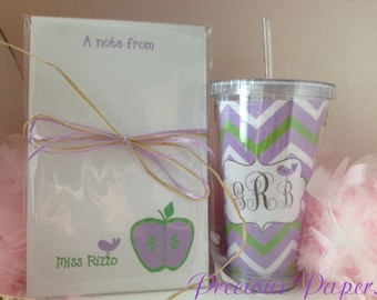 Purple and green tumber note pad set Personalized Teacher notepad and tumbler set Teacher notepads teacher tumblers Teacher Gifts
