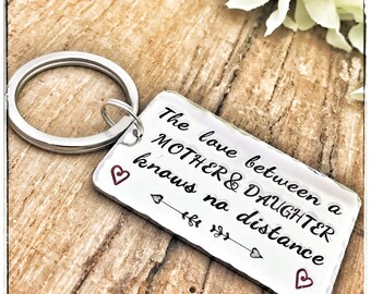 Long Distance Keychain Mother, Keychain Mother Daughter, Stamped Gift Mom, Mother's Day Gift