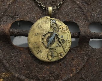Gold Antique Clock Necklace with Exposed Gears