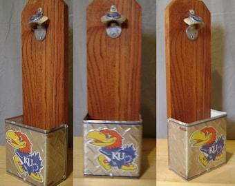 Kansas University Jayhawk KU Wall Mounted Bottle Opener & License Plate Cap Collection Box