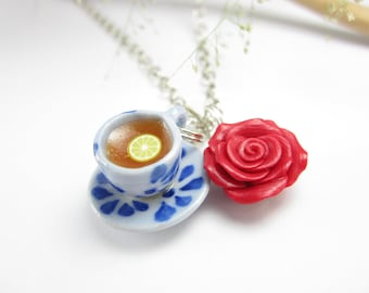 Lovely Rose and Teacup Necklace - food jewelry, food necklace, teacup jewelry, rose necklace, miniature food, red rose charm, teatime gift