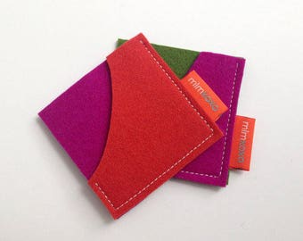 Square Card Case by mlmxoxo.  felt card case.   business card holder.  unisex.  eco-friendly.  card sleeve.  felt case.  Free Shipping.