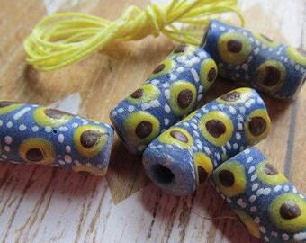 Blue Yellow White African Krobo Bead, African Trade Bead, Ghana Bead, Glass Bead, African Glass Beads, African Beads, Beads