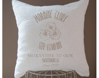 Seed Sack Pillow Farmhouse Pillow Cover Farmhouse Cover Throw Pillow Pink Pillow Shabby Chic Grain Sack Pillow Farmhouse Cover Feed Sack
