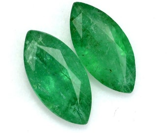 1.97 CTS Certified Natural Emerald Marquise Cut Pair 10x5 mm Calibrated Loose Gemstones