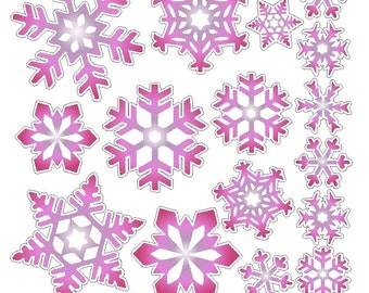 Peel and Stick Pink Snowflake Stickers Removable and Repositionable Snowflake Wall Decals