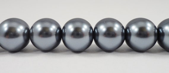 "Grey Pearl Beads 10mm Round Glass Pearl Beads, Dark Gray Pearl Beads, Beading Supplies, Crystal Pearl Beads on a 7 1/4"" Strand with 20 Beads"