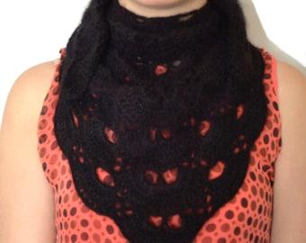 Black Angora Crochet Scarf or Mini Chale