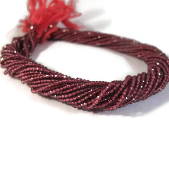 Rhodolite Garnet Beads, Small Faceted Rounds, 2.2mm - 2.5mm, 6.5 Inch Strand, Beautiful Gemstones for Making Jewelry (R-Rho2)