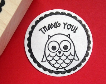 Owl Bird Thank You Rubber Stamp - Handmade, Original Art - by BlossomStamps