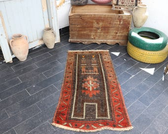Antique Anatolian Rug, FREE SHIPPING 2.1 X 4.4  Turkish Rug, Bohemian Rug, Vintage Rug, Pale Color, Vintage Area Rug Decorative Rug No 185