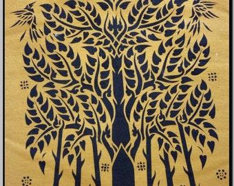 Thai traditional art of Bodhi Tree by silkscreen printing on cotton