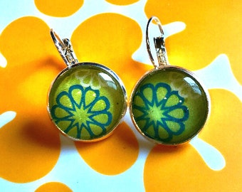 Floral cabochon earrings- 16mm