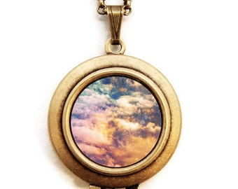 Cosmic - Photo Locket Necklace - Heavenly Clouds