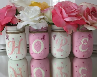 Decorated mason jars, Breast Cancer Awareness gift, breast cancer Ribbon Painted Mason Jars,mason jar decor, cancer patient gift