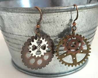 Industrial Gear Earrings Steampunk Urban Techie Gift Mechanical Jewelry Geek City Style Under 20 Unique Gifts  Popular Trends Fashion Trends
