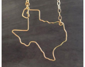 Texas Necklace - Texas State Love Necklace - Home State - Texas Outline Necklace - Personalized Necklace - Any State - State Jewelry