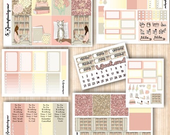 Bookworm, Erin Condren and Classic Happy Planner kit, Weekly Planner Sticker Kit, Premium Matte, Glossy, Reading