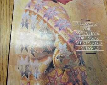 Glorious Knits, Vintage Knitting Book, Kaffe Fassett, Designer, DIY/Knit/Sweater/Dress/Vest/Shawl/Afghan, Women/Men/Children/Boy/Girl/Teen