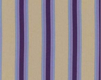 Khaki/Purple Bungalow Stripe Decor Cotton Twill, Fabric By The Yard