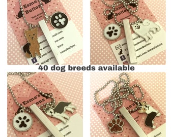 Dog breed necklace, unisex dog gift, Hand Stamped, ball chain, dog lover gift, gift for him, gift for her,