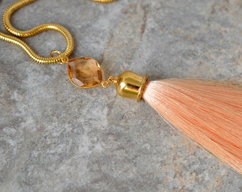 Sophisticated tassel necklace Hydro morganite gemstone and silk tassel pendant on gold chain Peach necklace Tassel jewelry