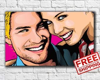 Custom Couple Pop Art Portrait Comic Portrait Personalized Portrait Gift for Friend
