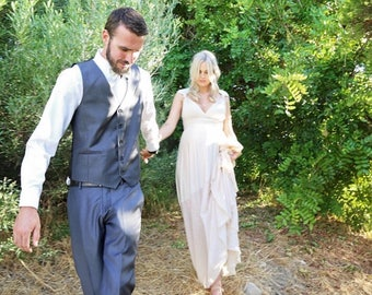 Bella Luna~ Ivory Sequin Sparkle Octopus Infinity Wrap Dress WITH Train ~Vintage Bridal, 1920s Gatsby Wedding, Bridesmaids Dress