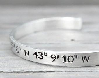 Latitude Longitude Bracelet, Coordinate Bracelet, Long Distance Relationship, Coordinate Cuff, Hand Stamped Jewelry, Personalized Jewelry