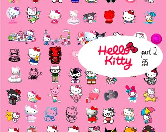 55 Hello Kitty ClipArt part 2 - Digital ,PNG, image, picture,  oil painting, drawing,llustration, art , birthday,handicraft