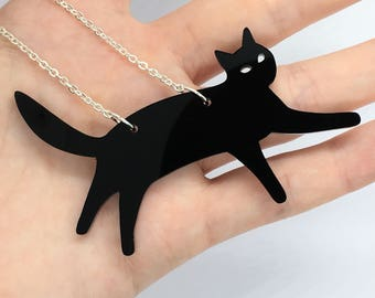 """Black Laser Cut Acrylic Cat Necklace 20"""" Silver Chain"""