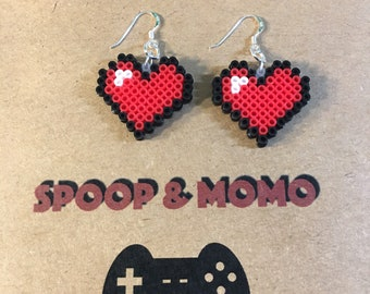 Pixel heart earrings mini perler beads