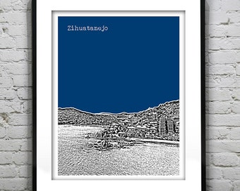 Zihuatanejo Mexico Poster Art Skyline Guerrero Print