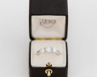 Ring Box Genuine Leather Monogrammed Velvet Ring Box Vintage Style - LUDOVIC - Handmade Vintage Antique Engagement Wedding Proposals Temple