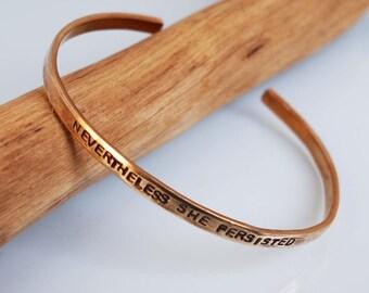 Nevertheless She Persisted Bracelet, Children's Bracelet, Feminist, Girl Power Bracelet, Girls Bracelet