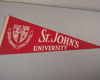 Vintage St. John's University Pennant Banner/ Flag