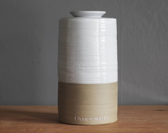 extra large (and XXL, XXXL) cremation urn with lid. Handmade pottery urn for human ashes. Sand stoneware, white glaze shown