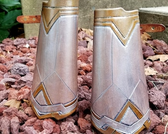 Warrior Woman Leather Bracers - Movie Inspired Bracer with Silver and Gold Detail Comic Costume Accessory