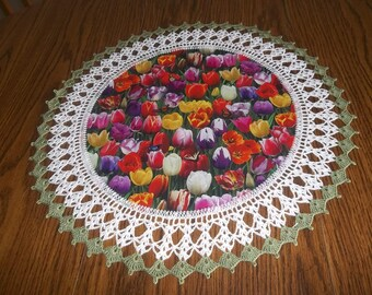 Crochet Doily Multi Colored Tulip Doily Crocheted Tulip Doily Fabric Center Handmade Doilies Lace Crocheted Edge Centerpiece Table Topper