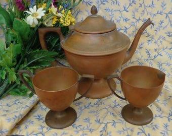 Vintage Dirigold Dirilyte Teapot Sugar Creamer Set Pre-1936 Dirigold Dirilyte Tea Set