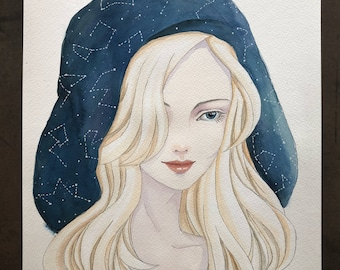 woman with constellation hood, original watercolor painting A4