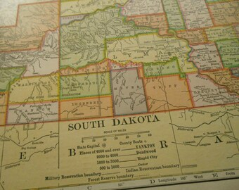 North and South Dakota, 1907 vintage antique US State wall decor Map with Color Counties, old maps as art