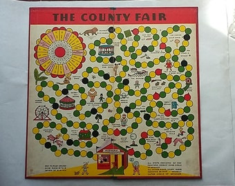 1937 Very Rare Game Board, The County Fair Wonderful Graphics