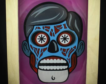 """Hand Painted - They Live - 5""""x7"""" Acrylic Picture with Custom Wood Frame - OBEY"""