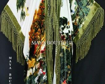 Peacock Ivory Multi Fringe Jacket Kimono Duster Silk Solid Velvet Maya Matazaro