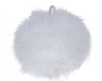 Beautiful tassel ball Angora white color with clip 8 cm Ideal for creating necklaces, earrings, key holder